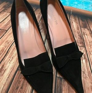 Bellofatto Sued Bow Kitten Heels